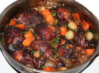 Coq Au Vin -- Chicken Braised in Wine